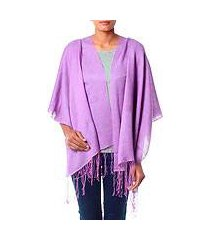 silk and wool shawl, 'lavender orchid' (india)
