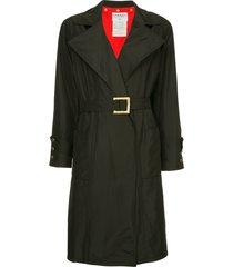 chanel pre-owned wide lapels midi coat - black