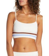 women's l space ren stripe detail bikini top, size large - ivory