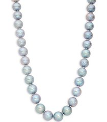 11mm-12mm round grey freshwater pearl 14k white gold necklace