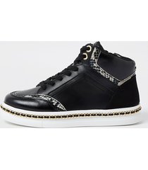 river island womens black chain trim high top trainers