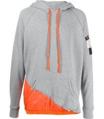 greg lauren x paul & shark shell-panelled jersey hoodie - grey