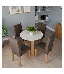 conjunto de mesa de jantar redonda com tampo de vidro flora ii off white e 4 cadeiras maia linho mascavo