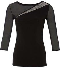 maglia con mesh e strass (nero) - bodyflirt