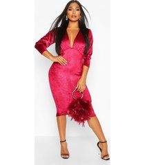 velvet croc ruched sleeve midi dress, magenta
