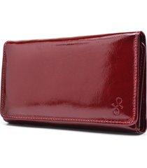 carteira de couro maior hendy bag vermelho fechado verniz - tricae