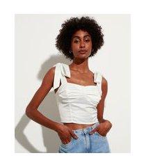 regata cropped corset de cetim alça larga decote coração mindset branca
