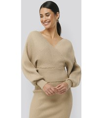 na-kd overlap glittery knitted sweater - beige