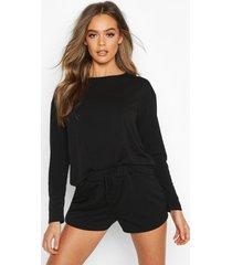 crop & short sweat pyjama set, black