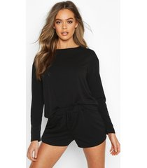 crop & short sweat pyjama set, black