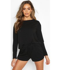 short sweat pyjama set, black