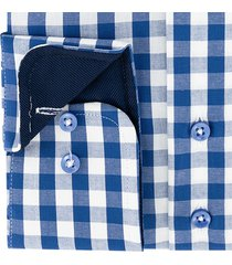 sleeve7 overhemd blauw allover ruiten poplin modern fit