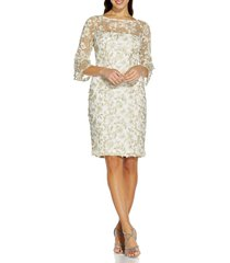 adrianna papell floral embroidered sheath dress, size 12 in ivory/gold at nordstrom