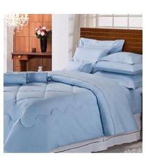 jogo de cama casal majestic 233 fios 11 peças azul plumasul