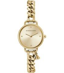 bcbgmaxazria ladies round goldtone stainless steel chain bracelet with crystal charm watch, 26mm