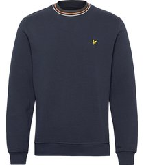 pique sweatshirt with tipping sweat-shirt trui blauw lyle & scott