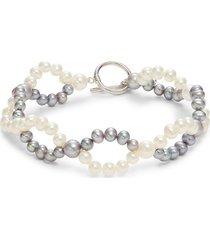 belpearl women's sterling silver & 4-7mm cultured pearl bracelet