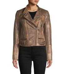 snake-embossed faux leather moto jacket
