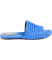 balenciaga blue braided straw espadrille slide sandals blue sz: 8.5