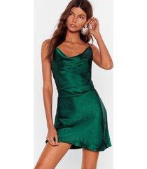 womens sought after cowl satin dress - dark green