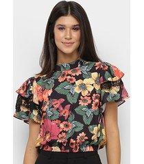 blusa il shin floral babados abertura costas feminina