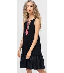 pitusa keyhole tassle tie dress black