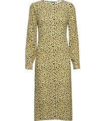 berta print dress knälång klänning gul modström