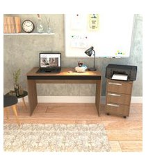 conjunto de mesa para notebook hype com gaveteiro cruze 3 gv mel e preto