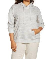 plus size women's caslon hooded sweatshirt, size 1x - grey