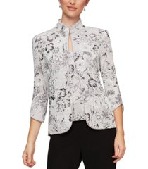 alex evenings 2-pc. printed mandarin-neck jacket & top set