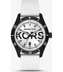 mk orologio layton oversize nero con cinturino in silicone - bianco (bianco) - michael kors