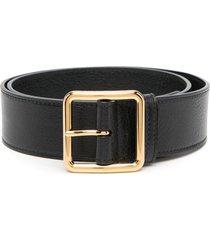 alexander mcqueen woman black textured leather belt with thin golden buckle