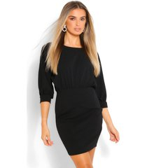 3/4 blouson mini dress, black