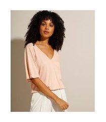 blusa ampla manga curta decote v rosê