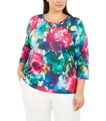 alfred dunner plus size bright idea printed top