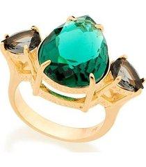 anel com três cristais gota rommanel