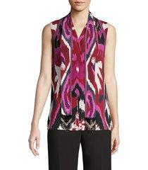 kobi halperin women's martina silk blouse - beet multi - size xs