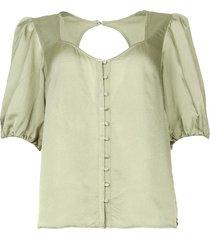 bewerkte doorknoop blouse moula  groen
