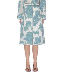 'abstract daisy' fil coupé seam midi skirt