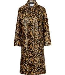 elyssa zebra pattern faux-fur coat