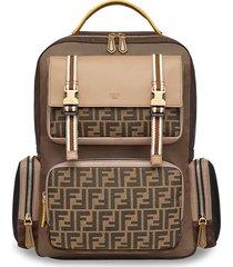 fendi multi-pocket nylon backpack - brown