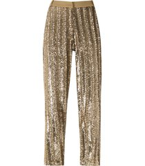 eva sequin embellished straight-leg trousers - gold