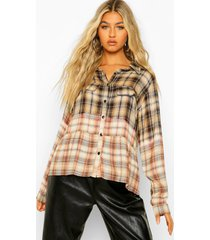 tall woven flannel bleached ruffle shirt, brown