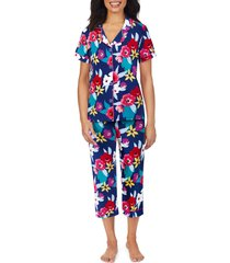 women's bedhead pajamas cropped pajamas, size x-small - blue