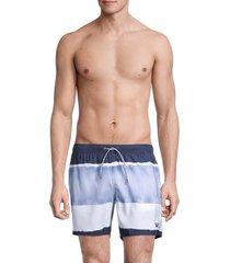 emporio armani men's tie-dye boxer-style swim trunks - winter blue - size m