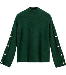 tröja med hög krage och dekorativa ärmar