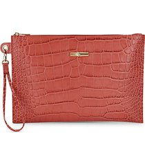 roseau croc-embossed leather pouch