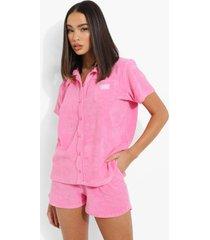 ofcl geweven badstoffen blouse met label, pink