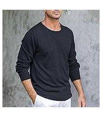 men's cotton blend pullover, 'classic warmth in black' (peru)