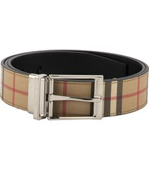 burberry reversible vintage check e-canvas and leather belt